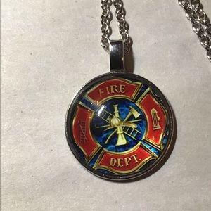 Fire department pendant necklace